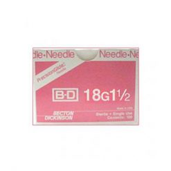 "BD Disposable Needles 18g x 1 1/2"" needles, disposable, stainless steel, BD"